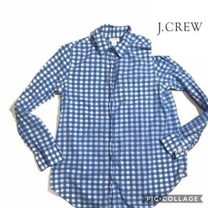e3e1d9ed7 J. Crew. J. Crew Blue White Gingham Plaid Button Down Shirt